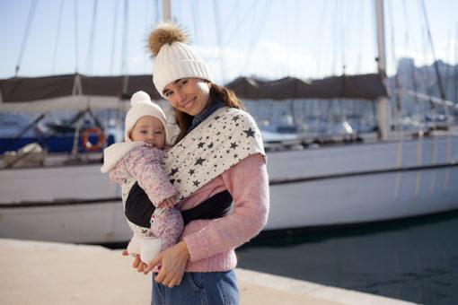 Echarpe de portage maman bébé hiver